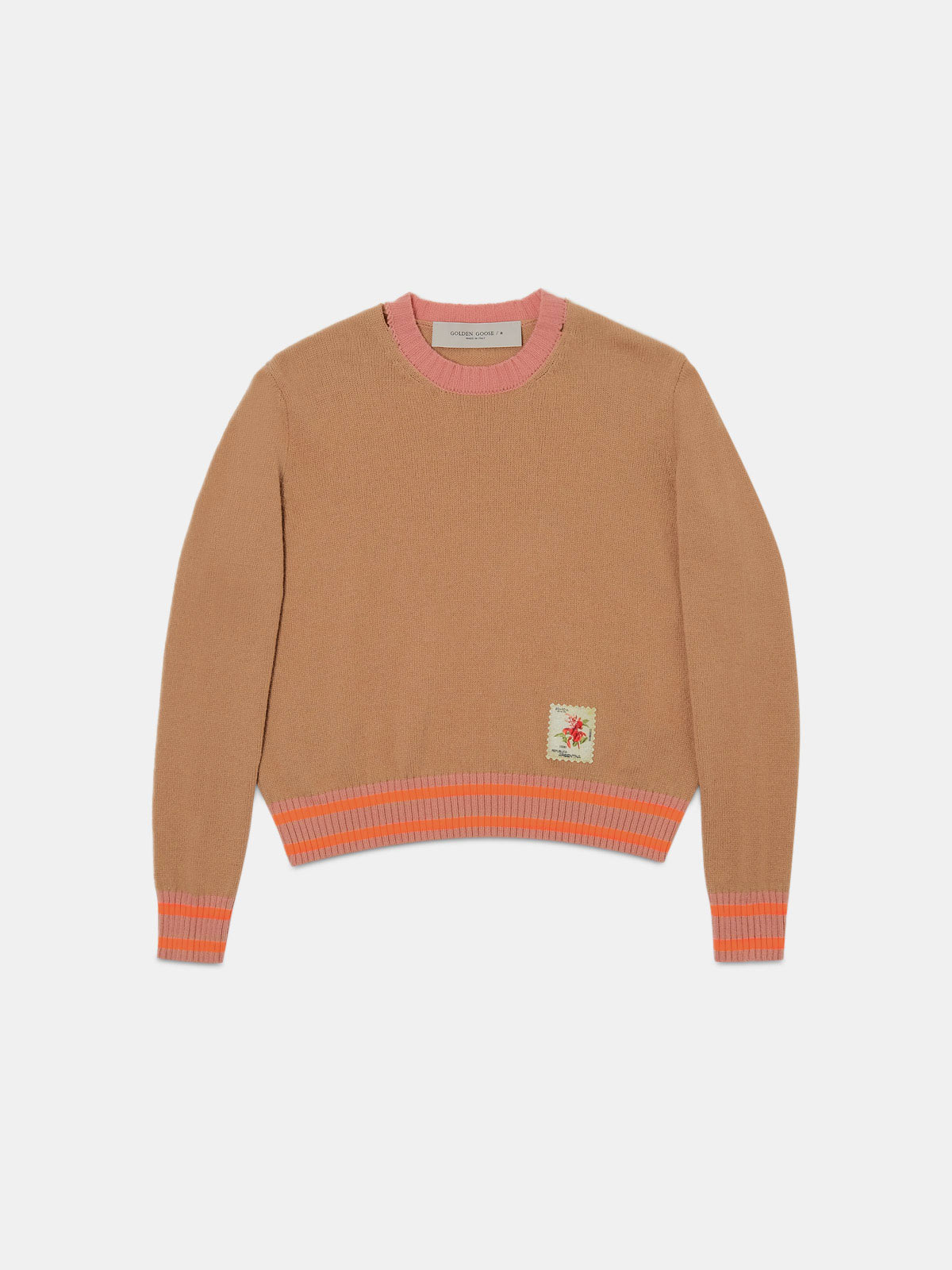 Golden Goose - Grey and pink Annarella pullover with Argentina patch in