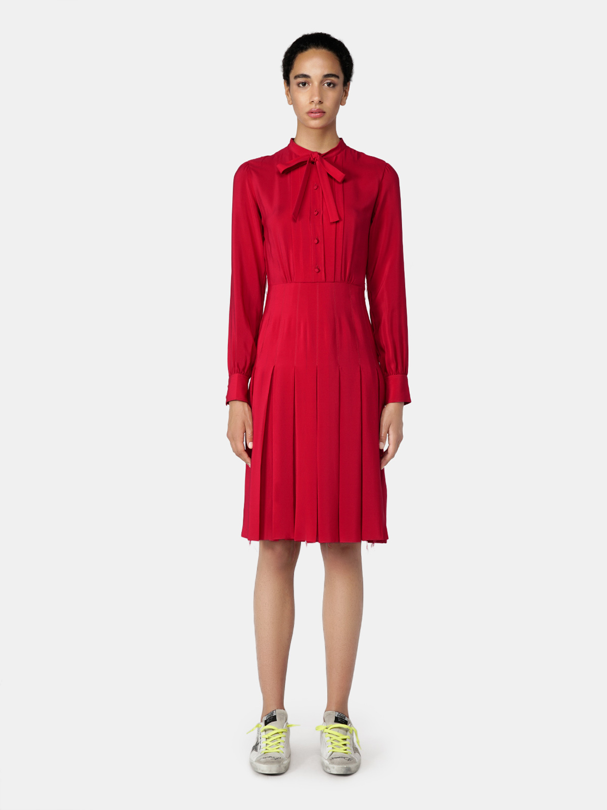 Golden Goose - Red Aida dress with a pleated skirt in