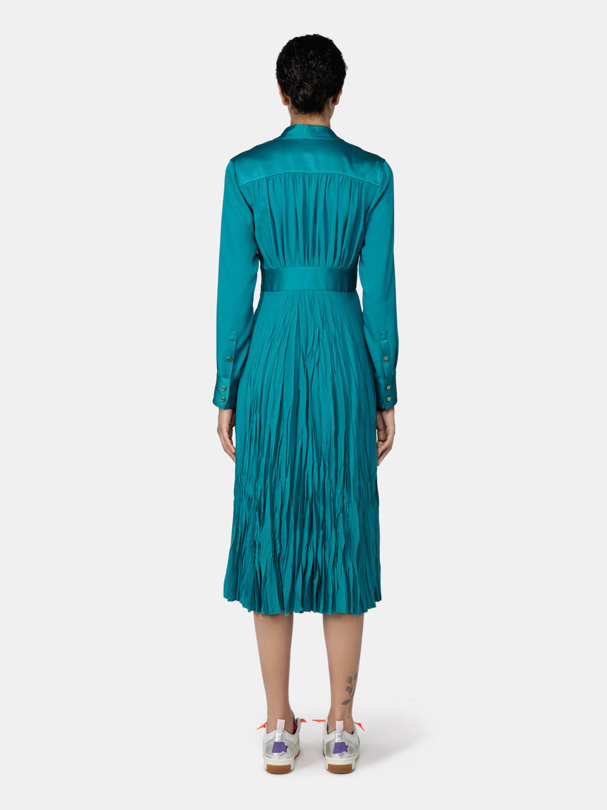 Golden Goose - Adriana long dress in petrol green with pleats in