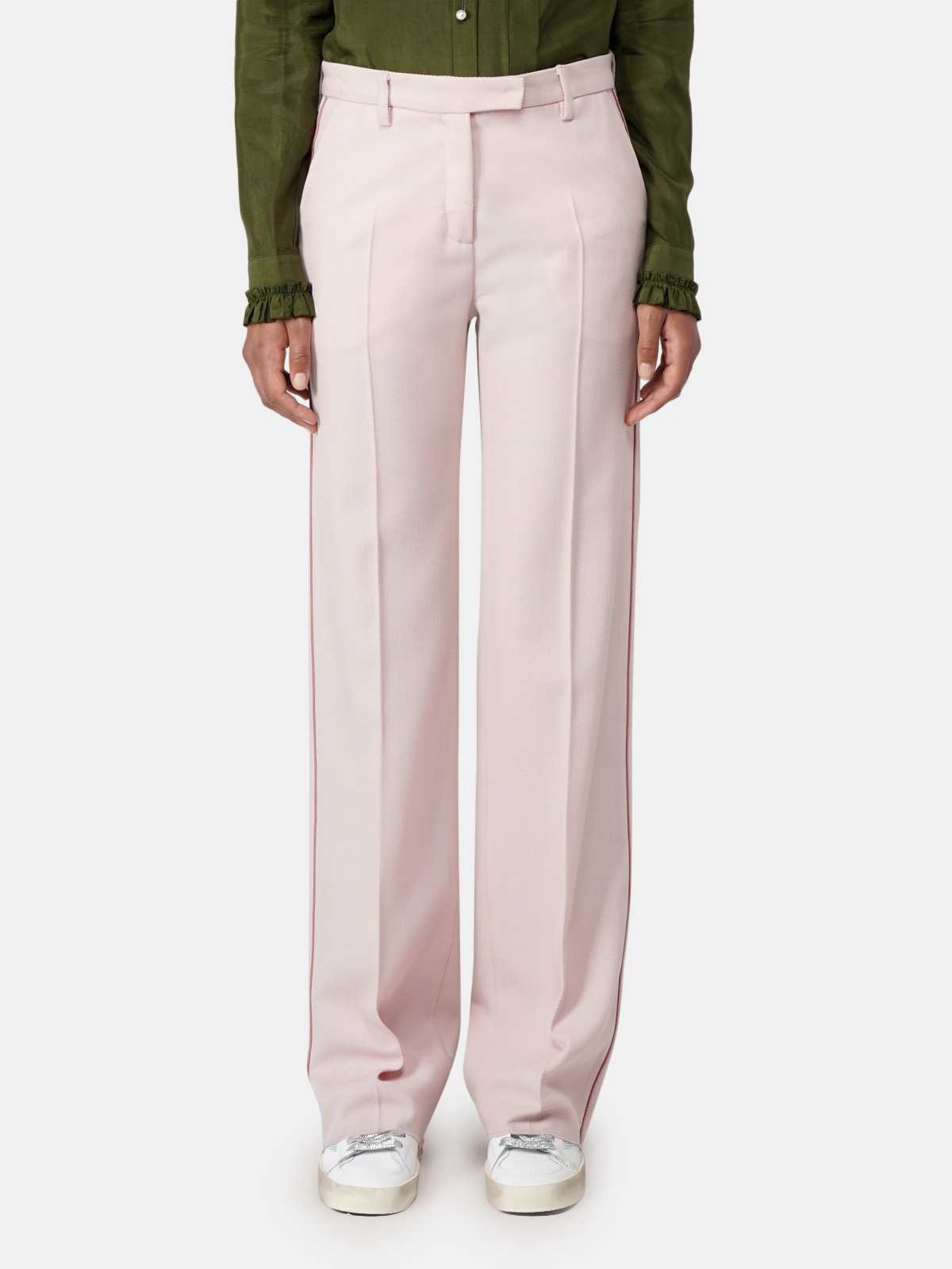 Golden Goose - Amanda trousers with flared hems and contrast piping in