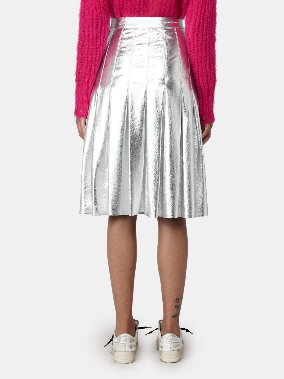 Golden Goose - Pleated Anastasia skirt in silver laminated leather in