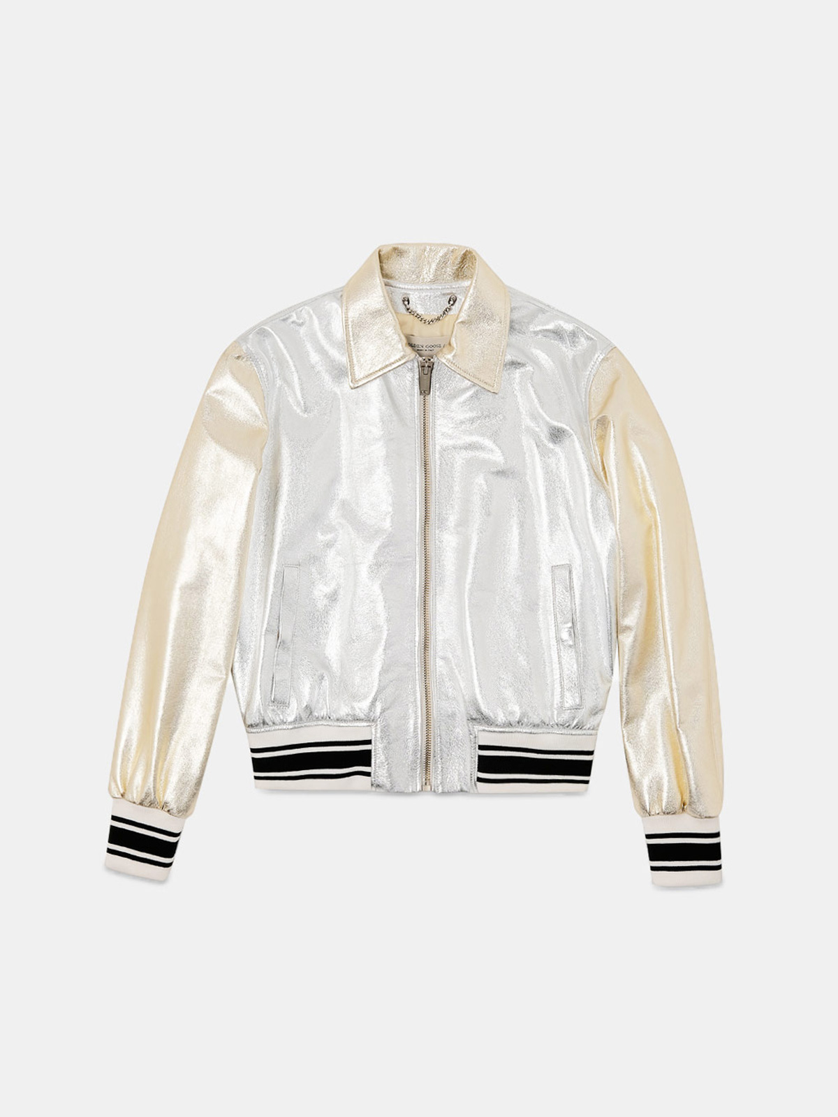 Golden Goose - Angelica bomber jacket in gold and silver leather in