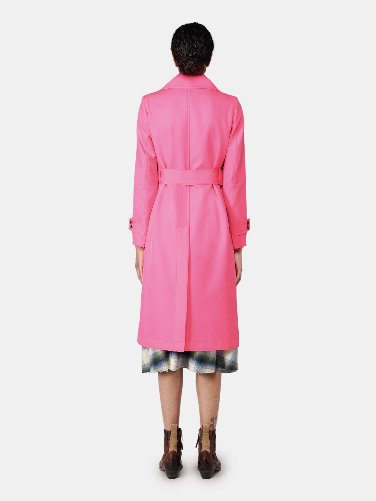 Golden Goose - Abigail trench coat in fuchsia fabric with pins in