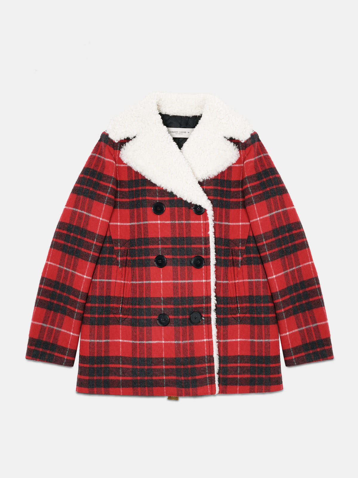 Golden Goose - Alida pea coat in tartan with shearling lining in