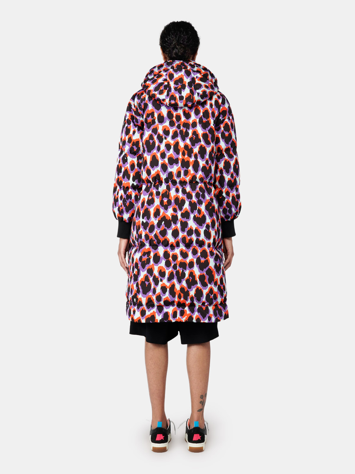 Golden Goose - Long puffer jacket with leopard print in