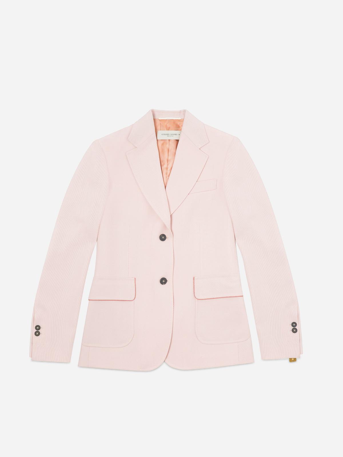 Golden Goose - Annachiara blazer in pink virgin wool twill in