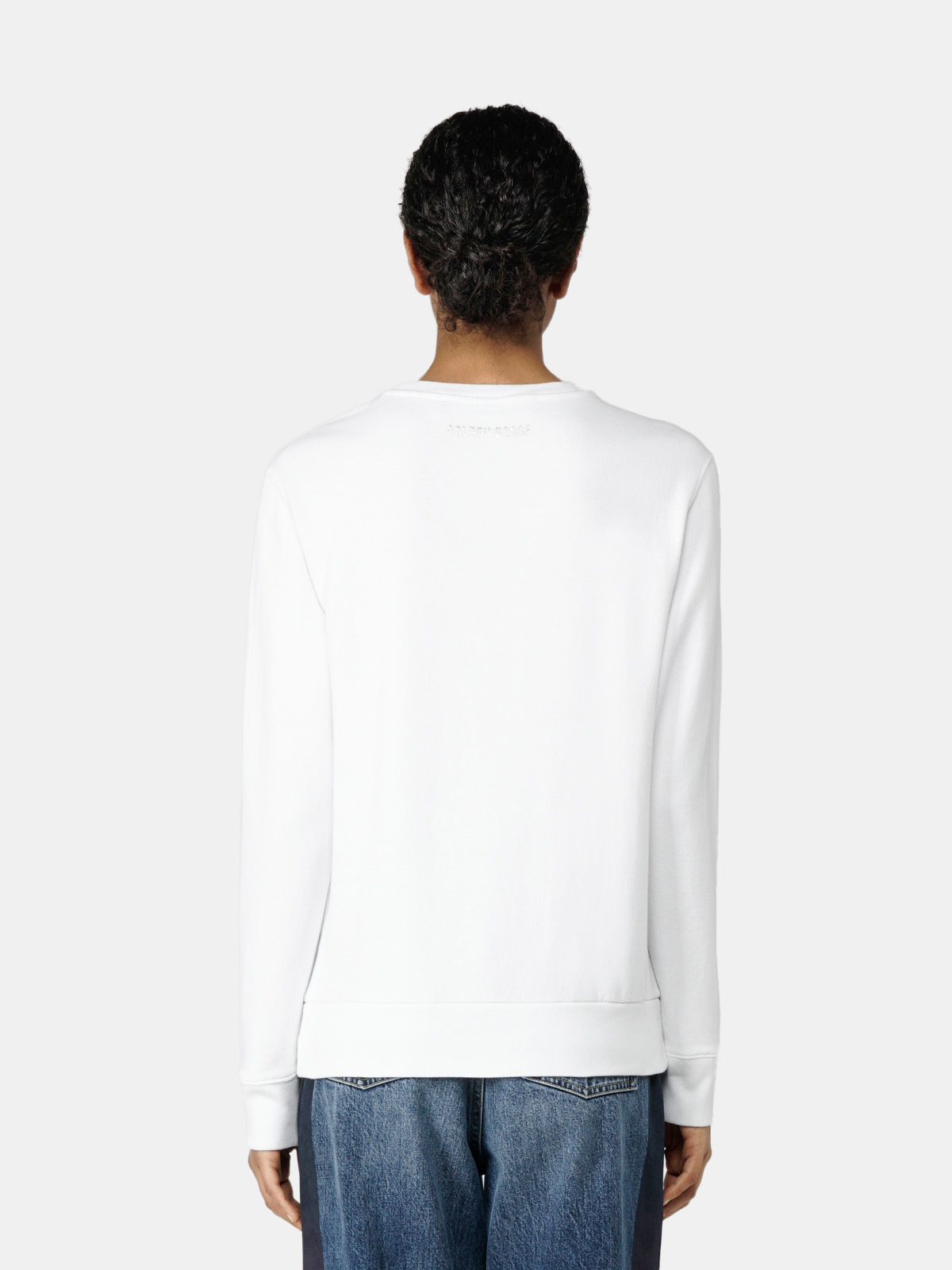 Golden Goose - Athena white sweatshirt with laminated star print in
