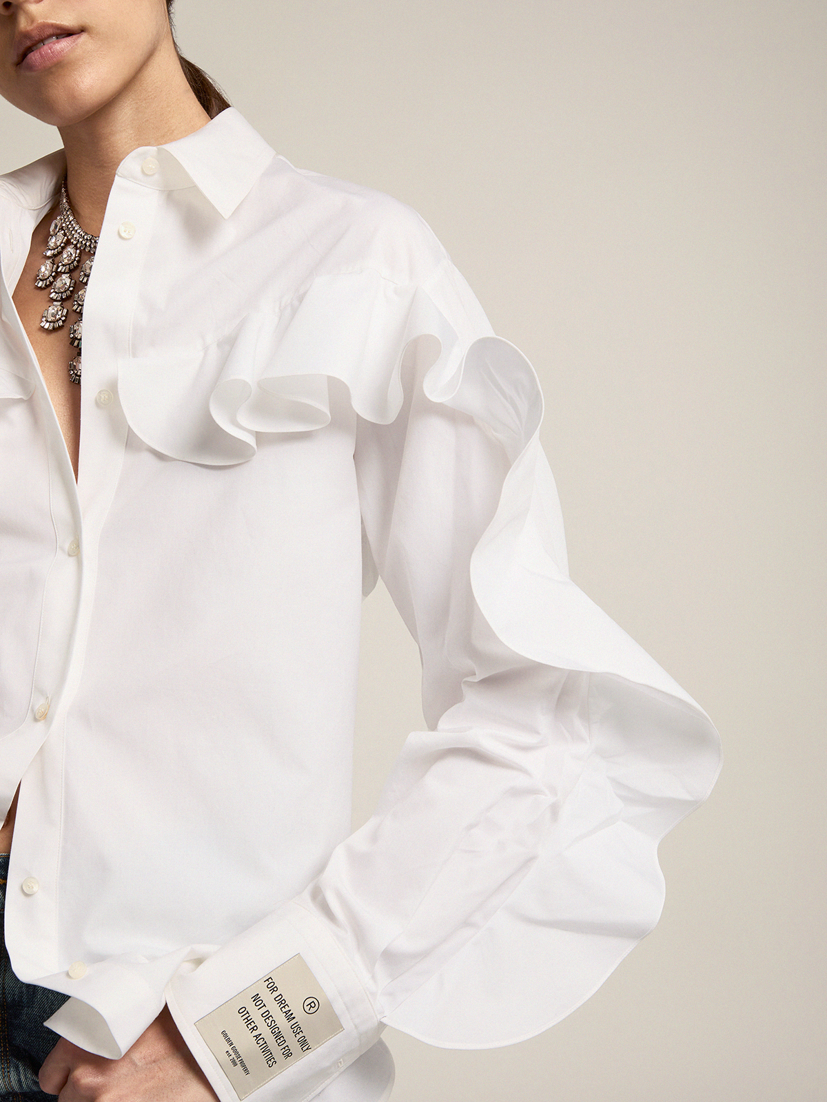 Golden Goose - Beata shirt in cotton poplin with ruffles   in