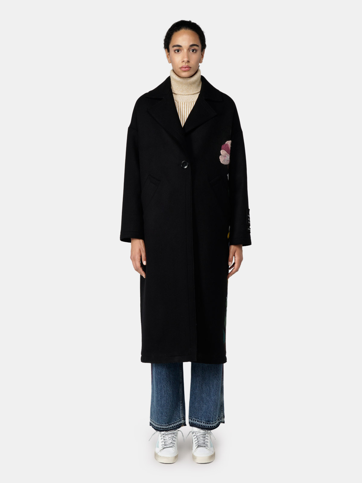 Golden Goose - Bertina black coat with embroidered flowers in