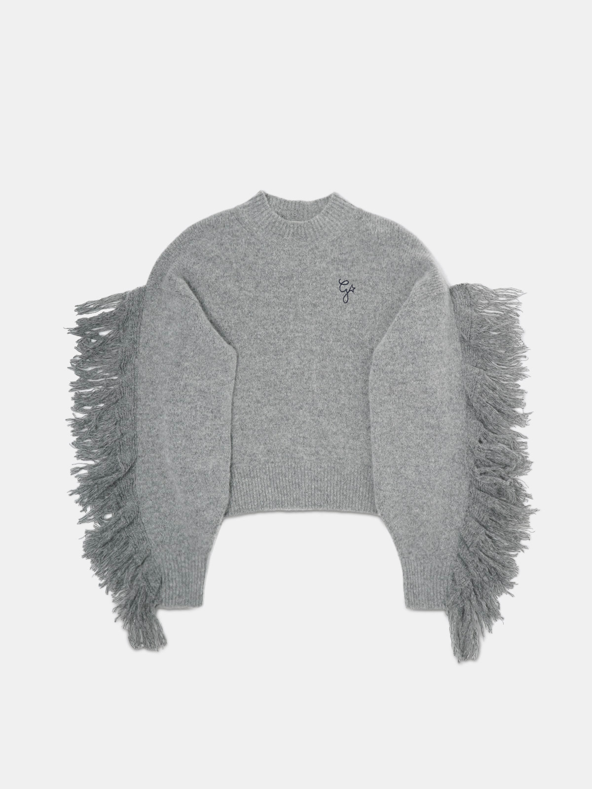 Golden Goose - Melange grey Cady sweater with fringing on the sleeves in