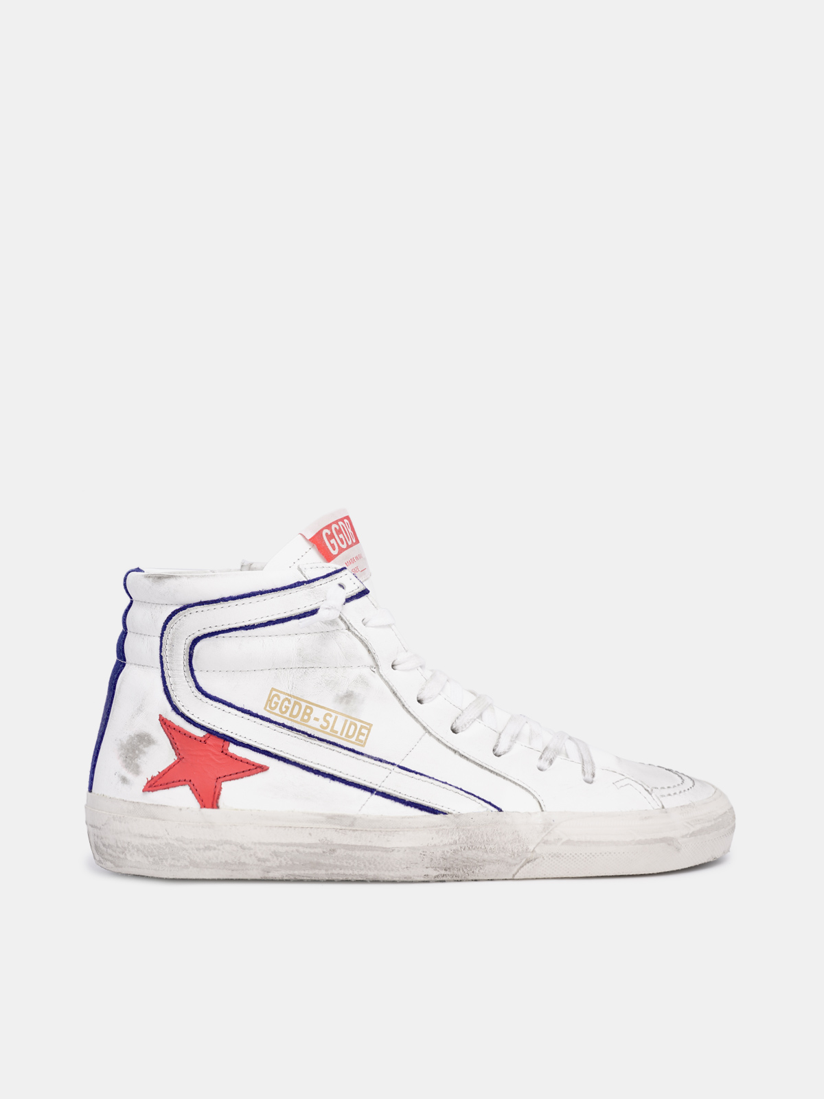 Golden Goose - White Slide sneakers with blue piping and red star in