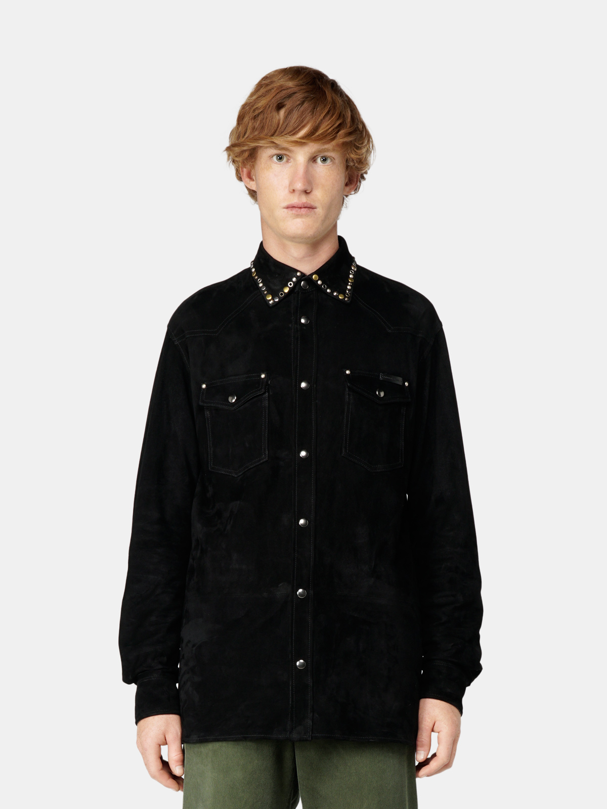 Golden Goose - Axel shirt in suede leather with studs in