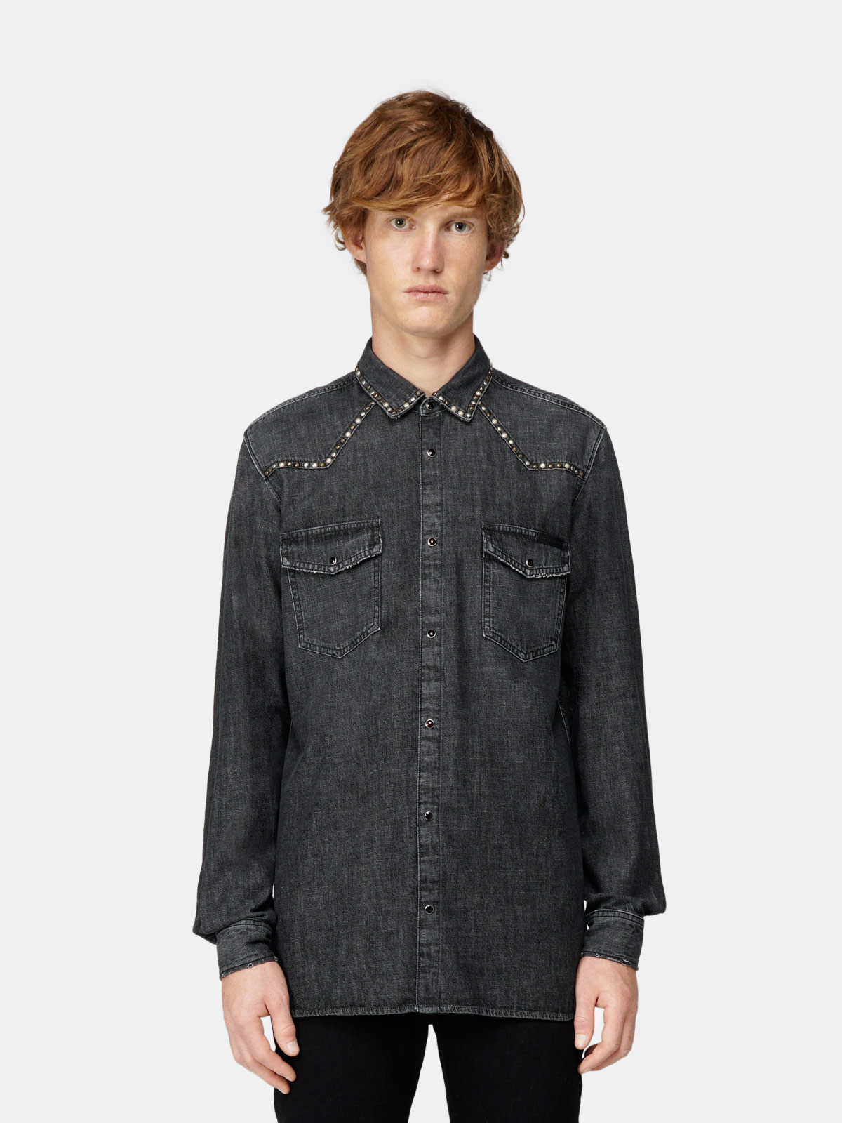 Golden Goose - Axel shirt in dark-wash denim with studs in