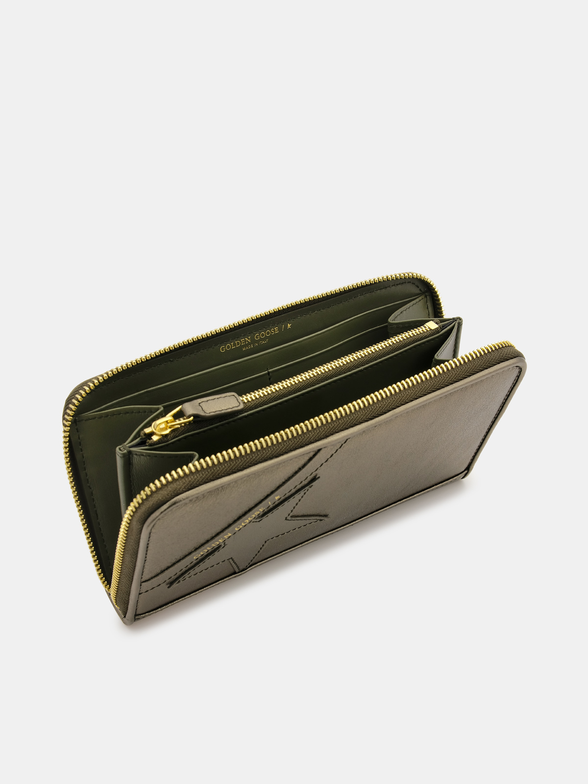 Golden Goose - Large green laminated Star Wallet in
