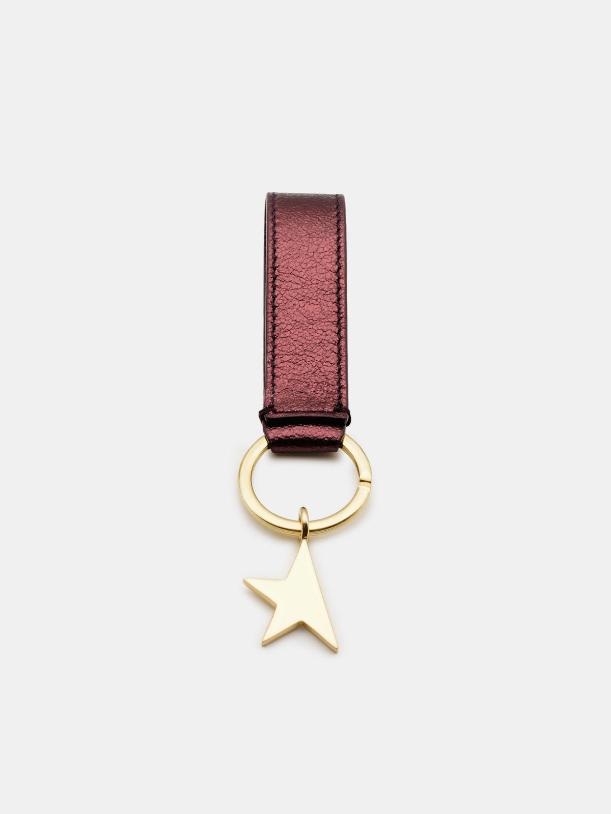 Golden Goose - Portachiavi Star Keyring bordeaux metallizzato in