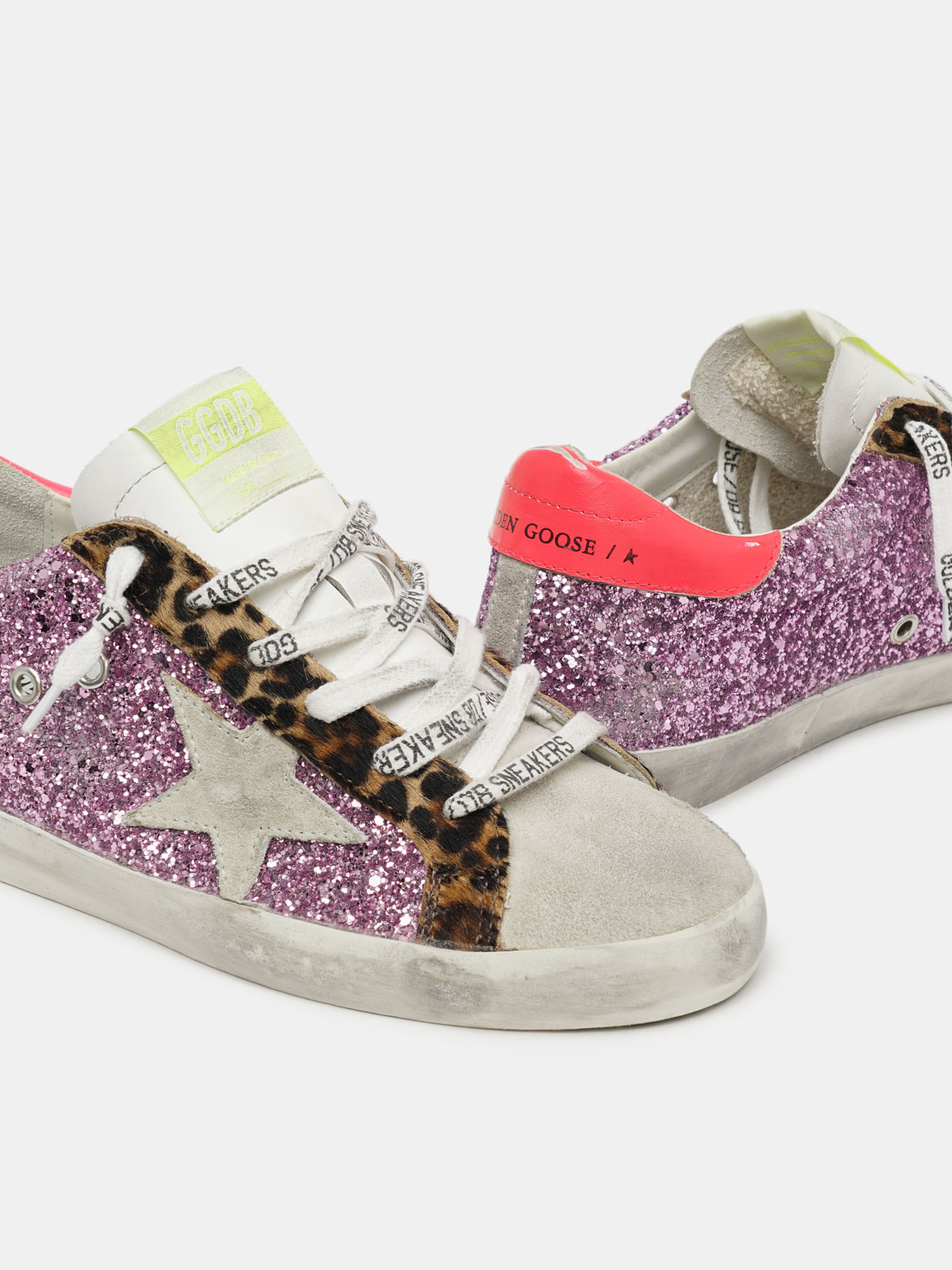 Golden Goose - Super-Star sneakers with pink glitter and leopard-print pony skin inserts in