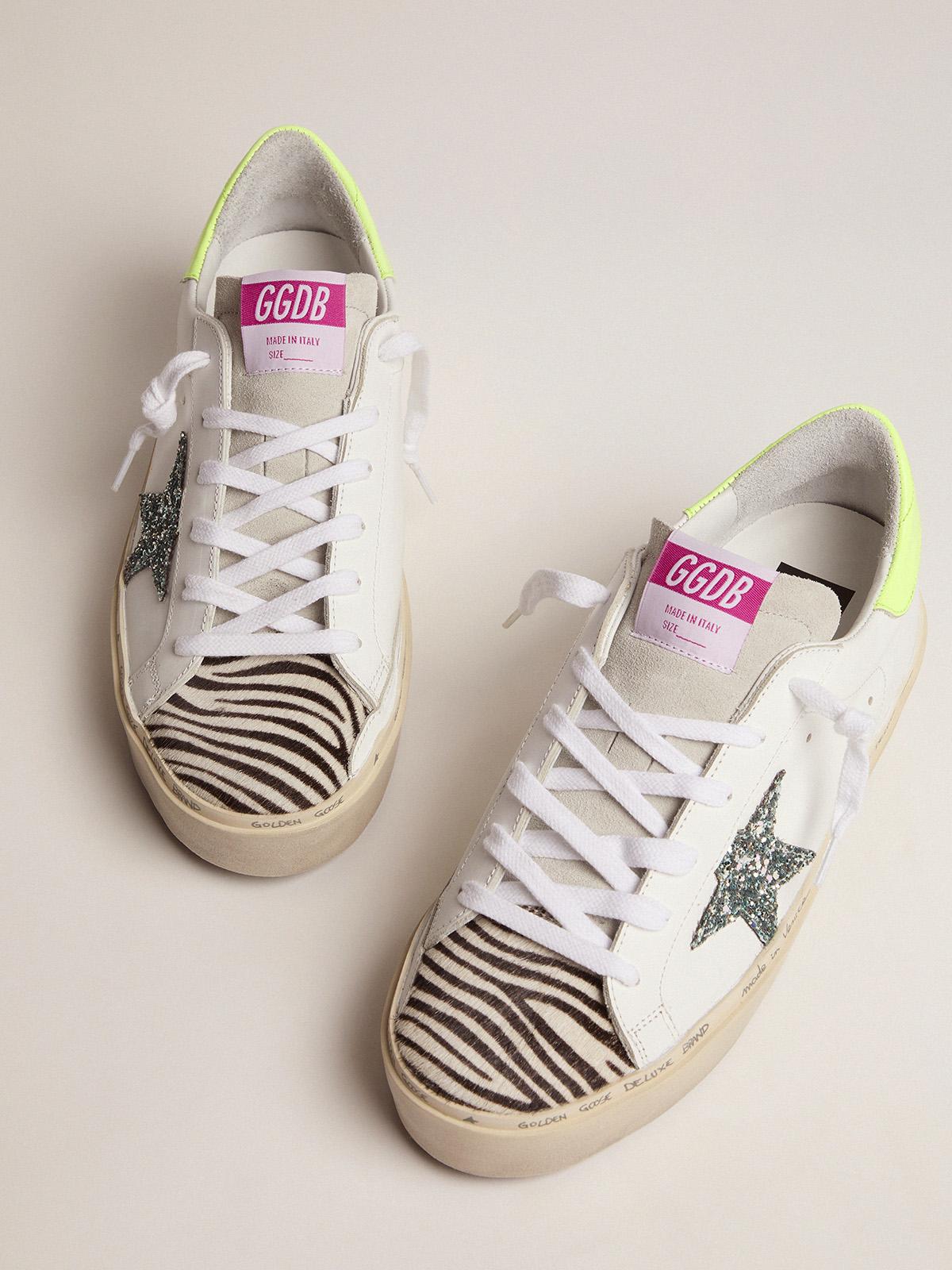 Golden Goose - Hi Star sneakers with blue glitter star and zebra-print pony skin insert in