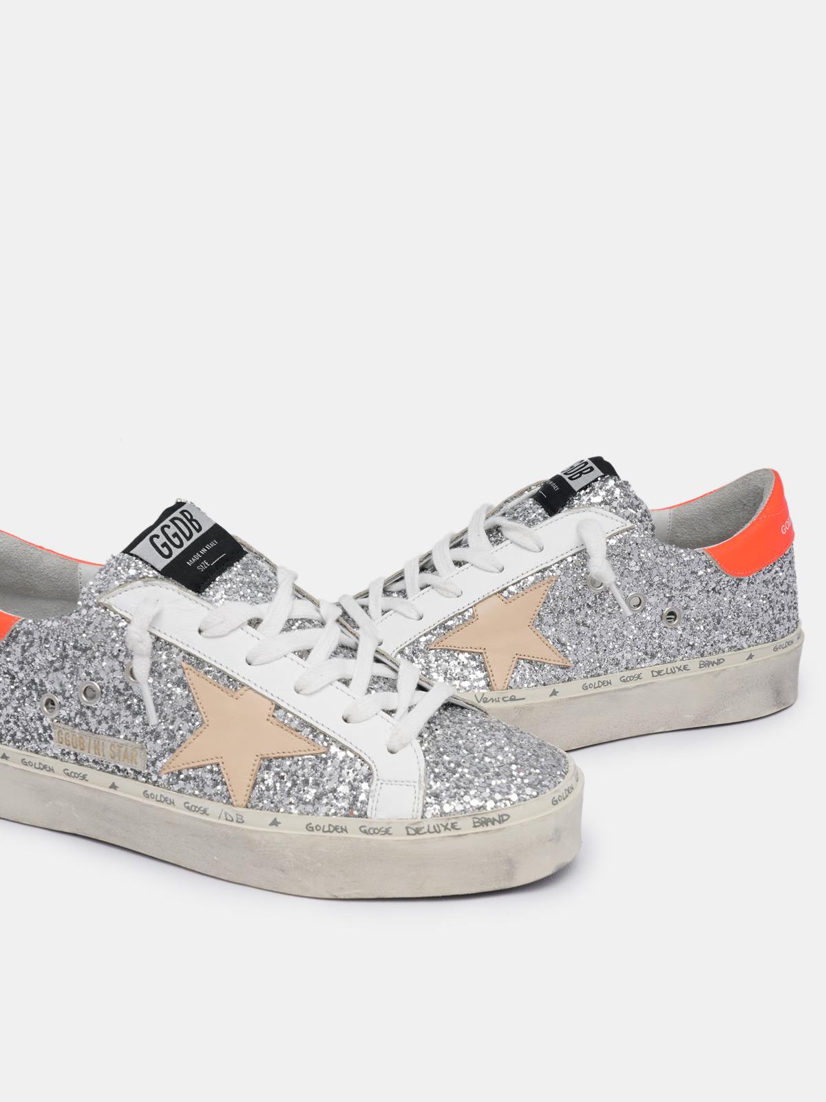 Golden Goose - Hi Star sneakers with glitter and orange heel tab in