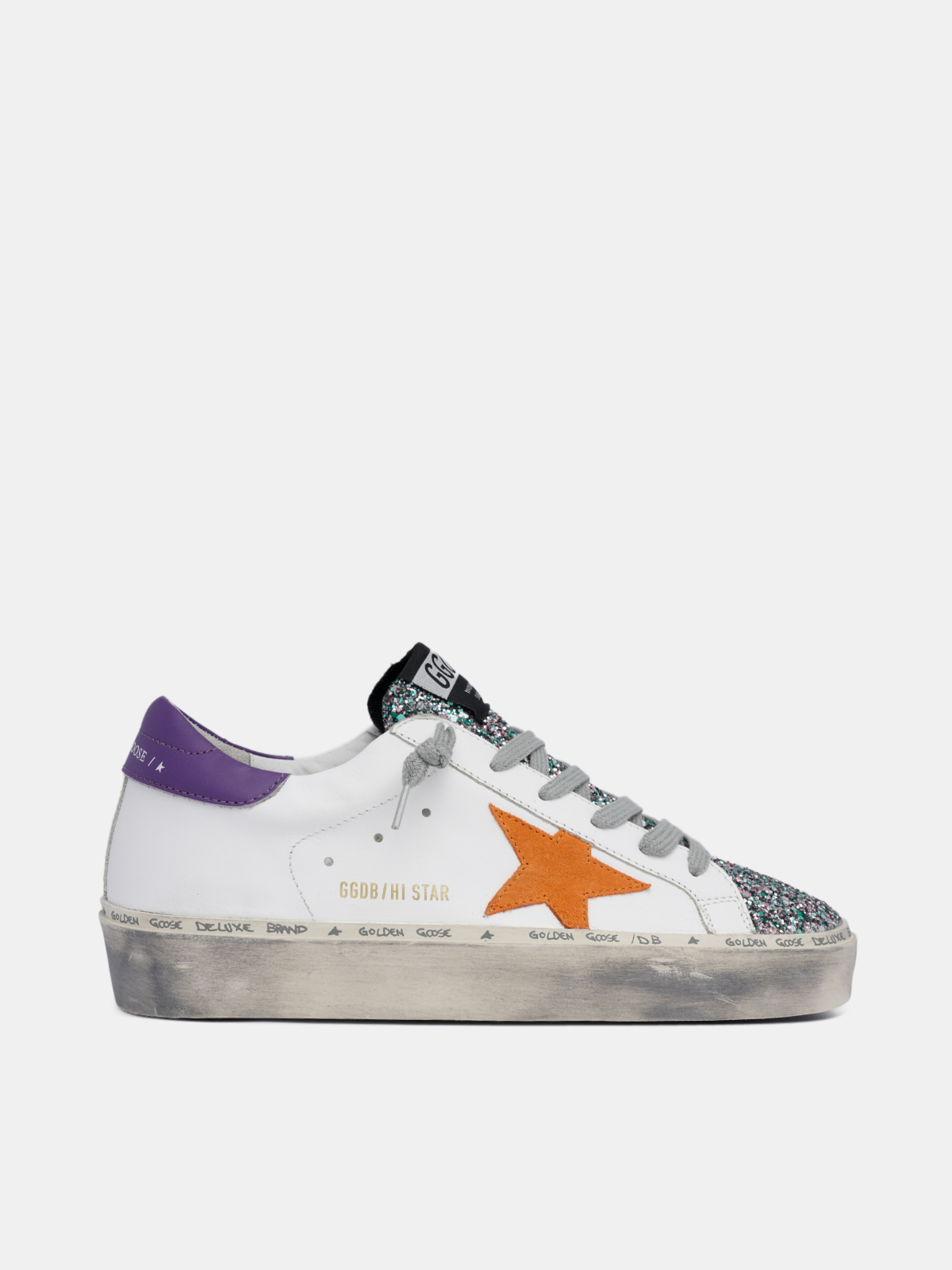 Golden Goose - White Hi Star sneakers with glitter insert in