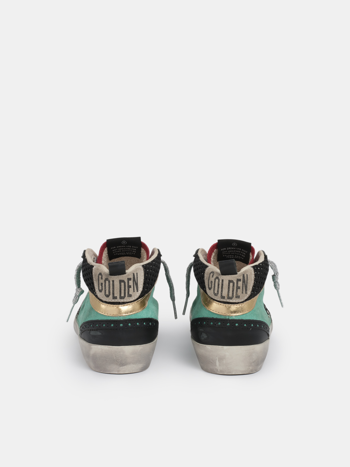 Golden Goose - Mid Star sneakers with aqua green suede upper and zebra-print leather star in