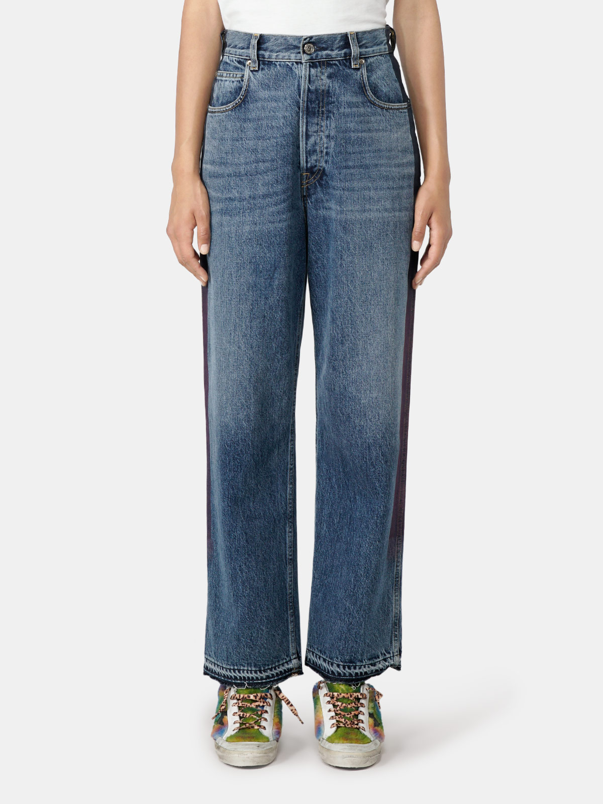 Golden Goose - Kim jeans in mid wash denim with shaded-effect side band   in