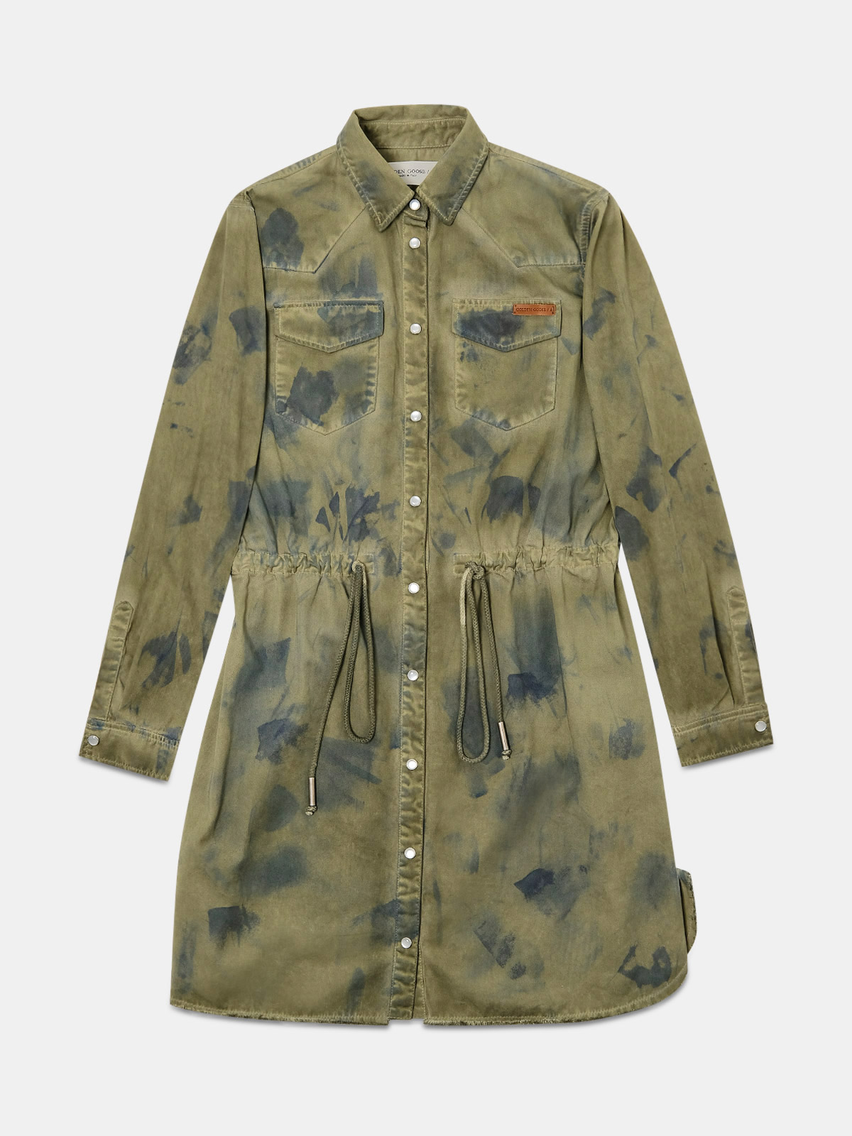 Golden Goose - Asia dress in military green bull denim for a vintage look in