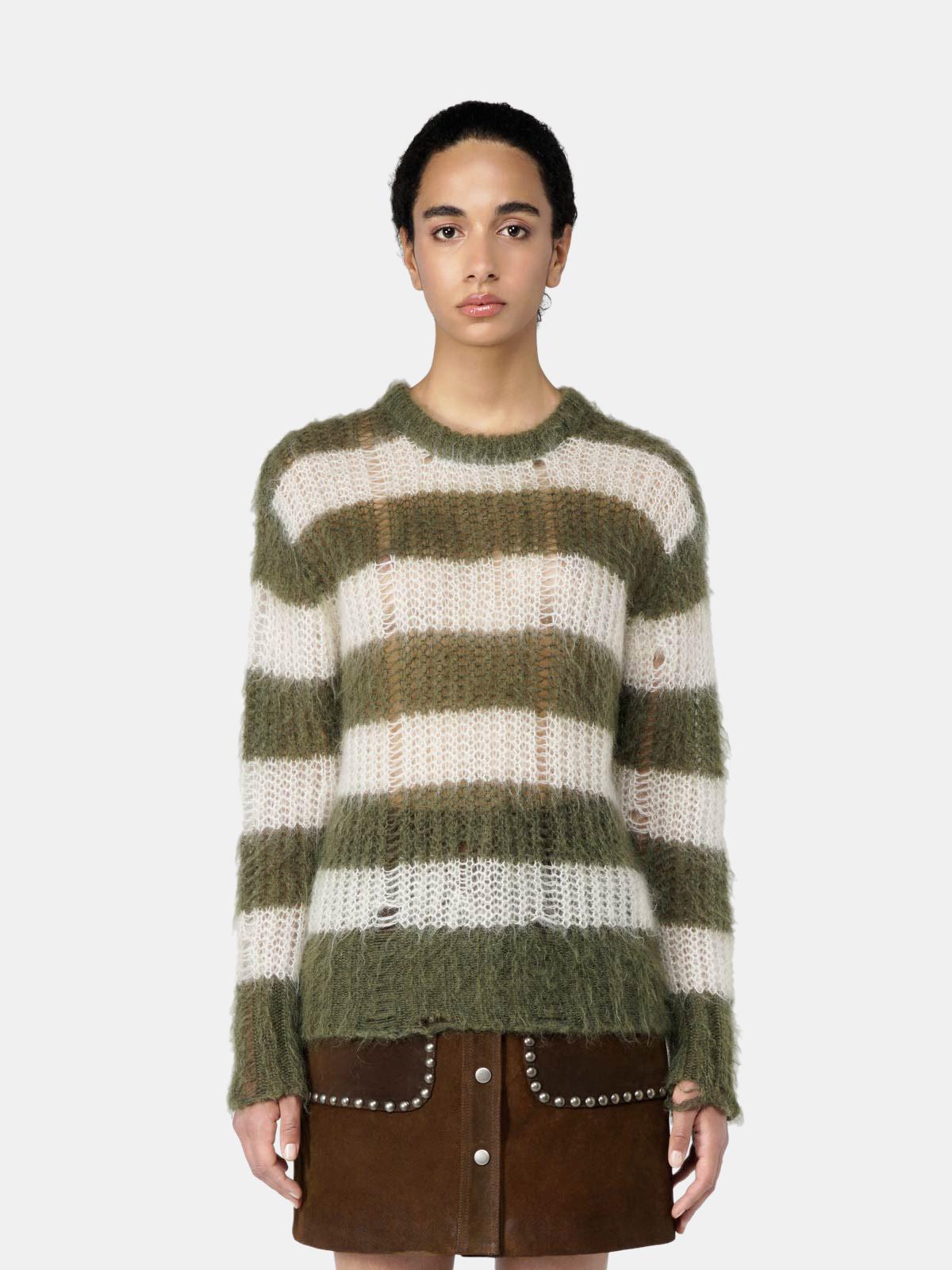 Golden Goose - Maglione Antonica in lana mohair a righe verdi e bianche in