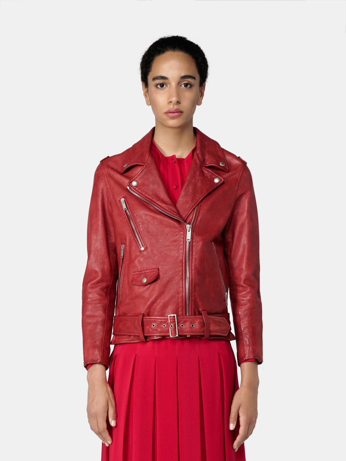 Golden Goose - Golden biker jacket in red vegetable-tanned nappa leather in