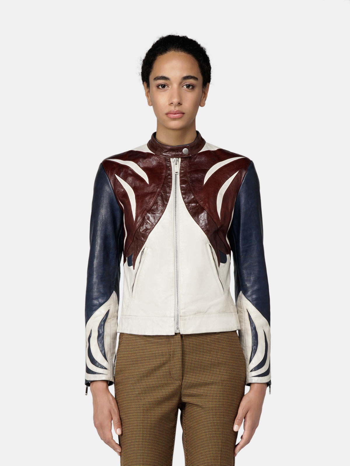 Golden Goose - Ashasa racer jacket in multicolour vegetable-tanned nappa leather in