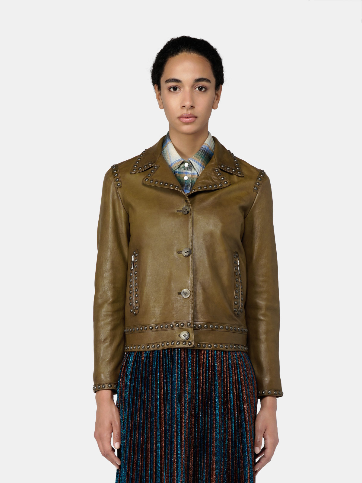 Golden Goose - Angelina jacket in leather with decorative studs in