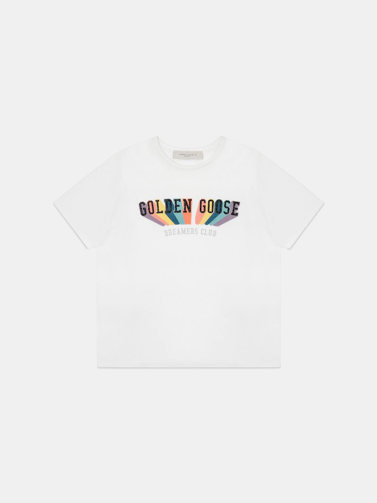 Golden Goose - T-shirt with rainbow Golden print in