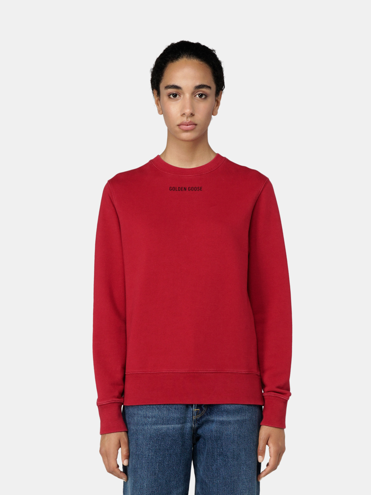 Golden Goose - Athena red round-neck sweatshirt with print on the back in