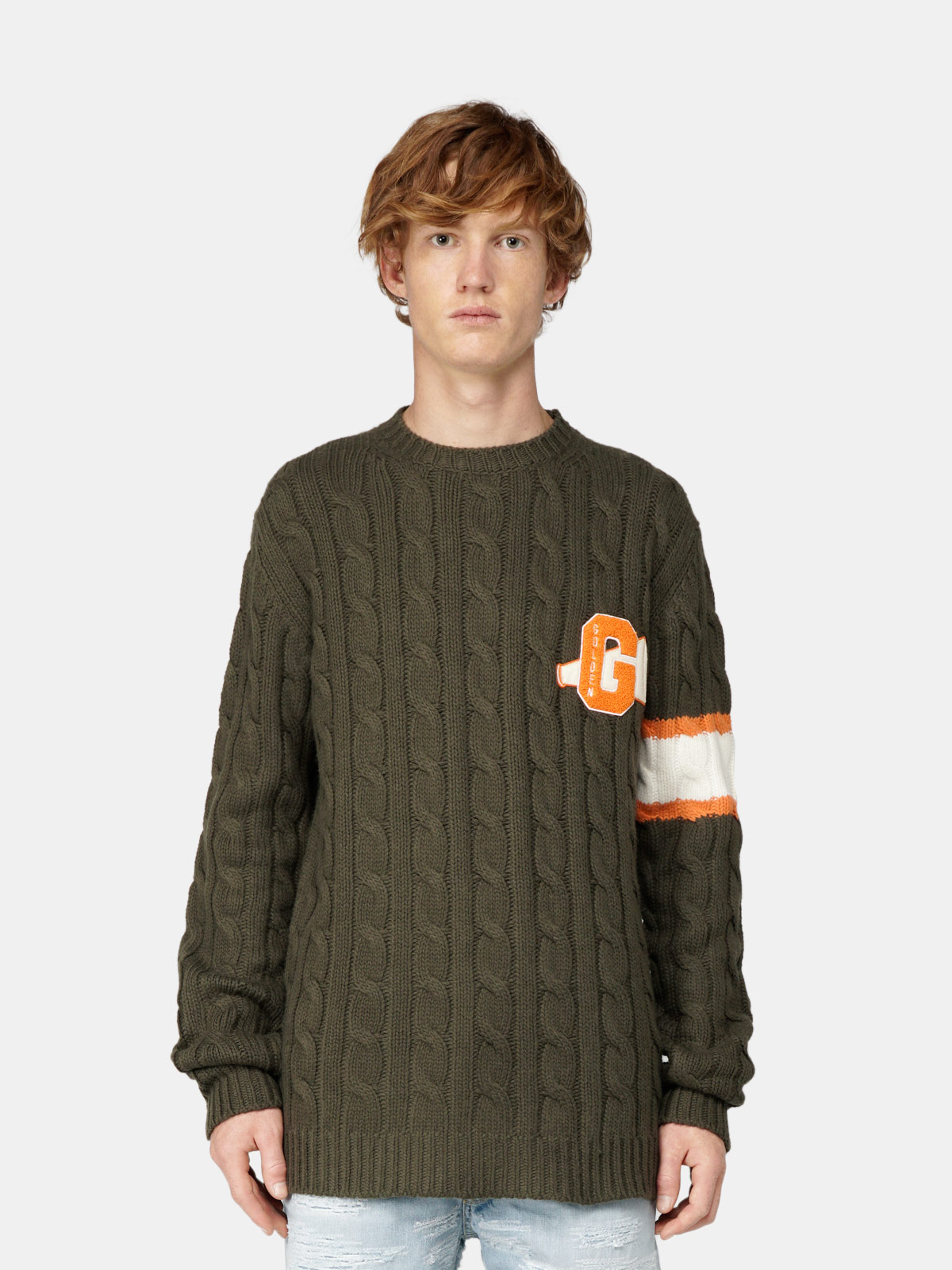 Golden Goose - Amery sweater with twisted yarn and patch on the front in