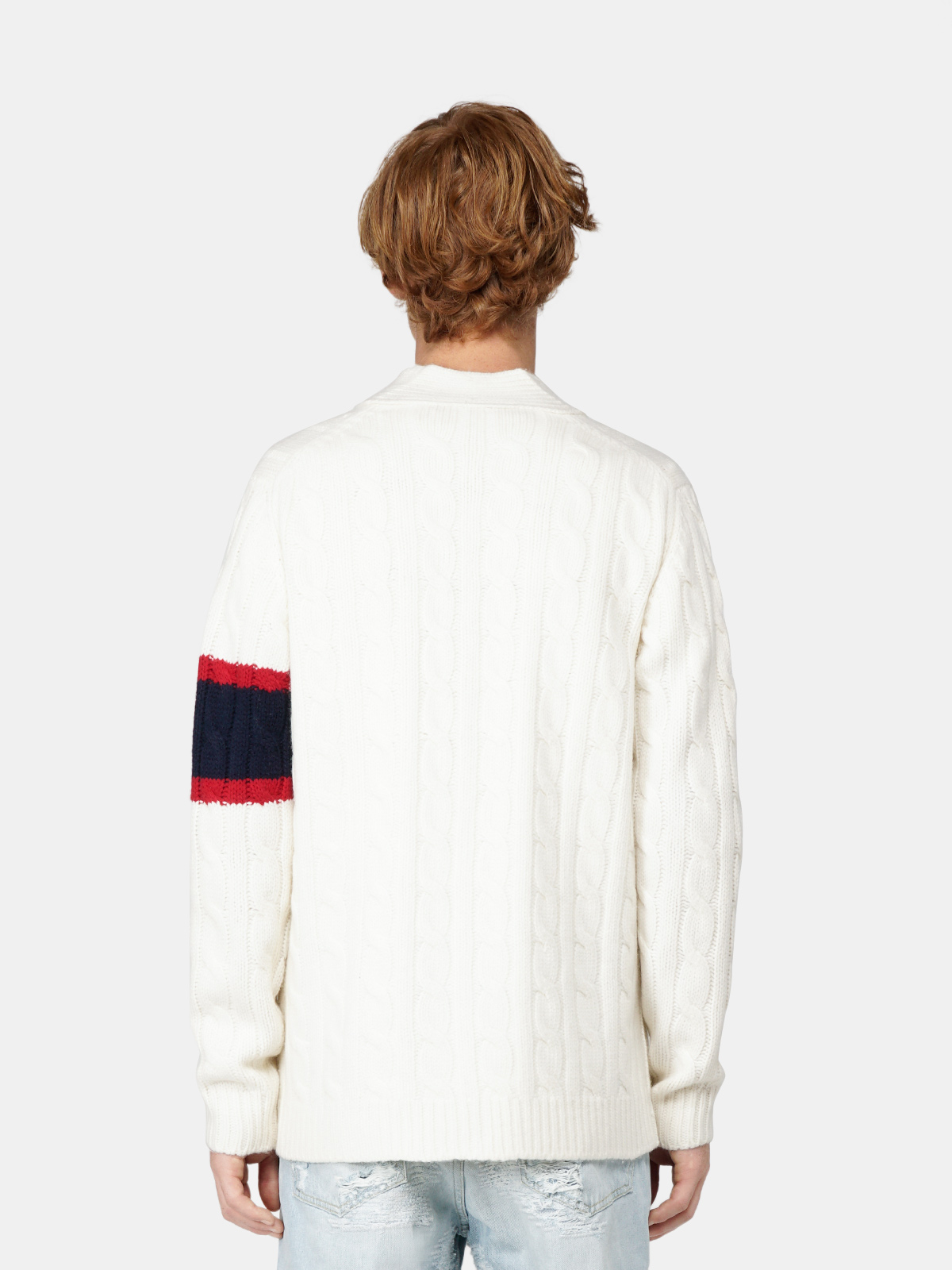 Golden Goose - Anson cardigan with twisted yarn and patch on the front in