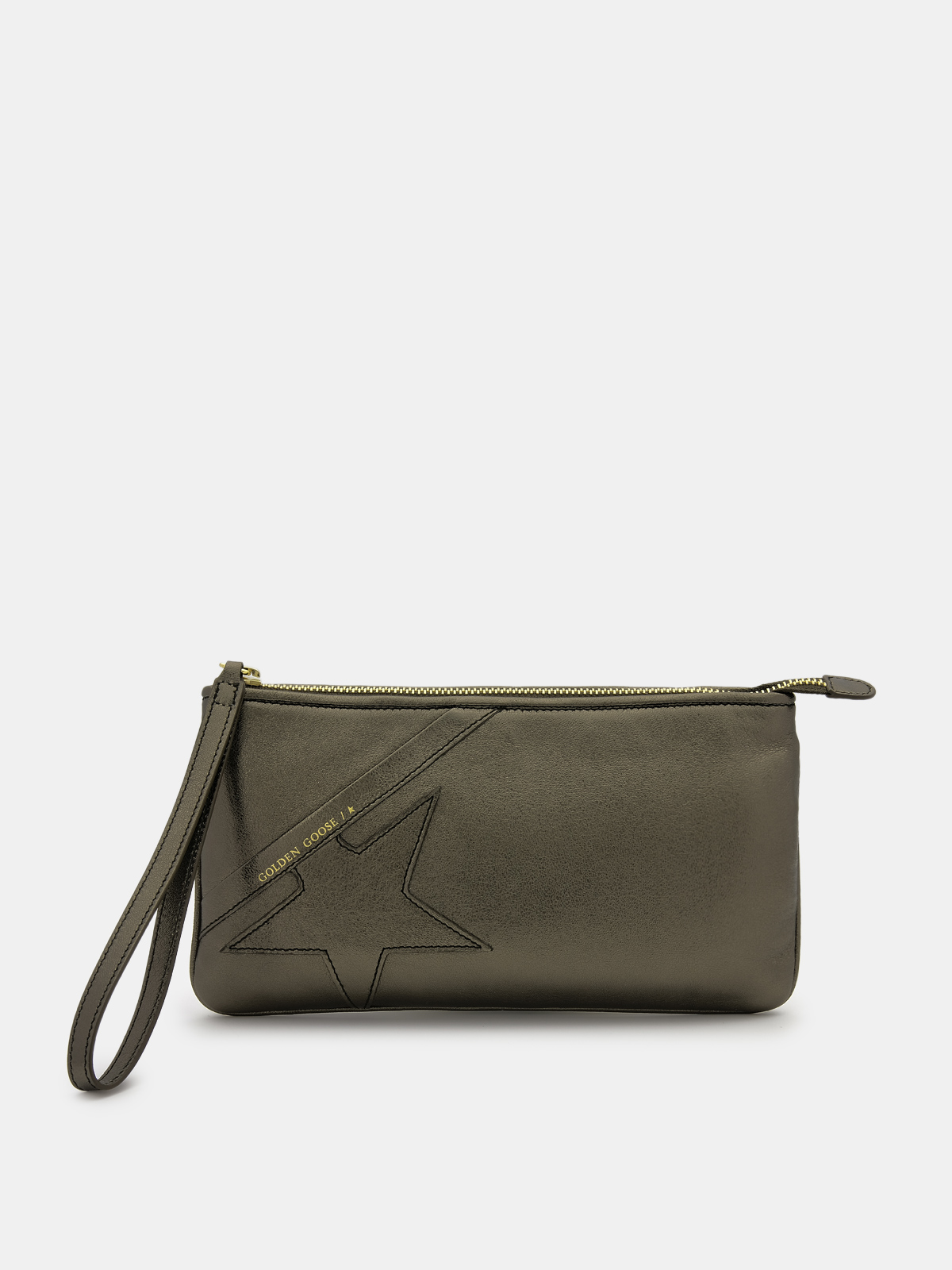 Golden Goose - Green Star Wrist clutch bag in laminated leather in