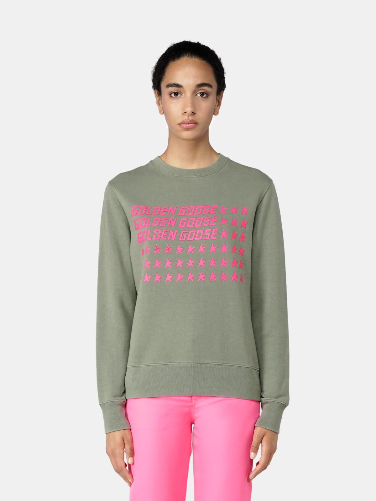 Golden Goose - Athena round-neck sweatshirt with pink flag print in