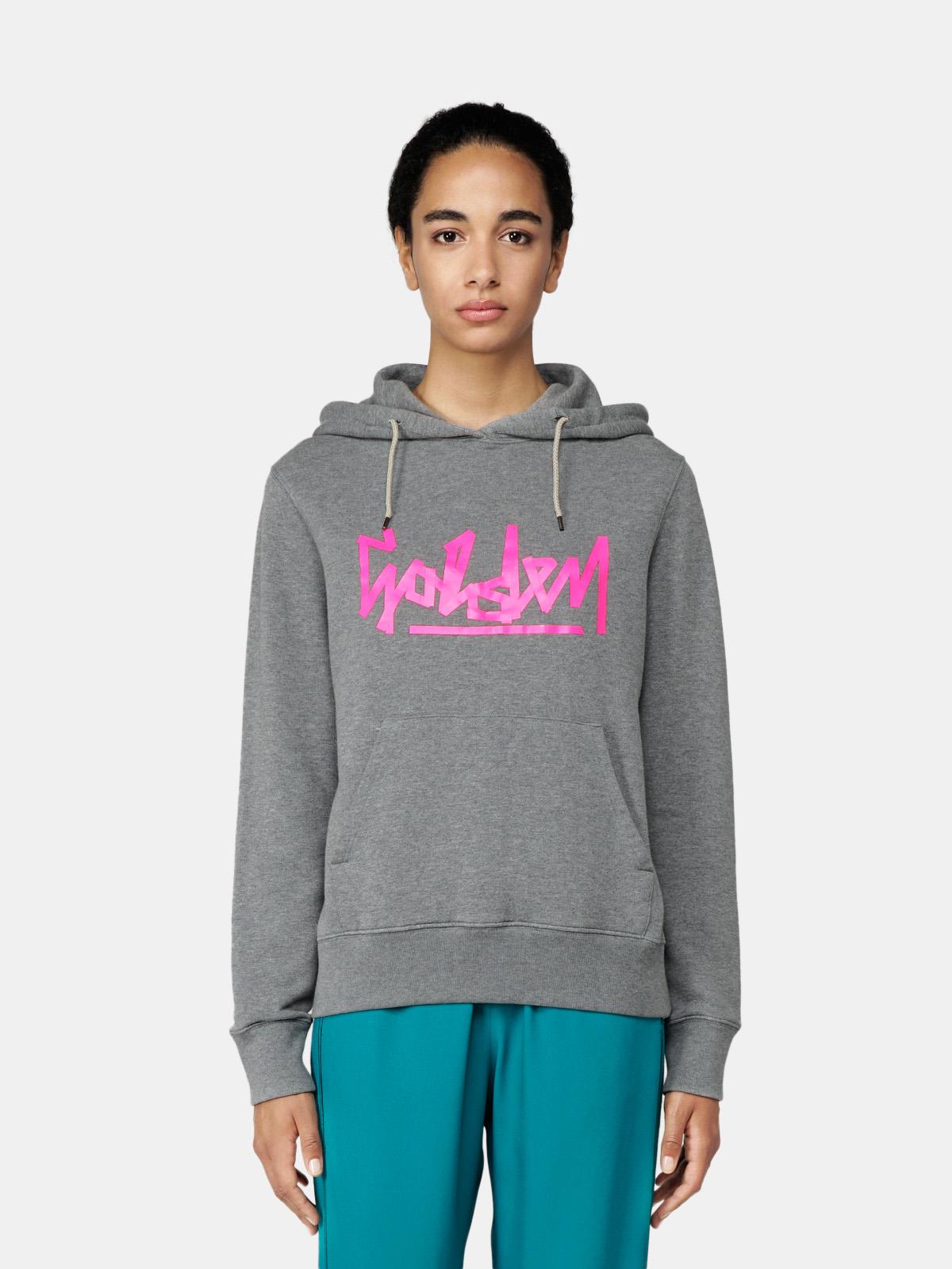 Golden Goose - Ayan grey sweatshirt with hood and pink Golden print in