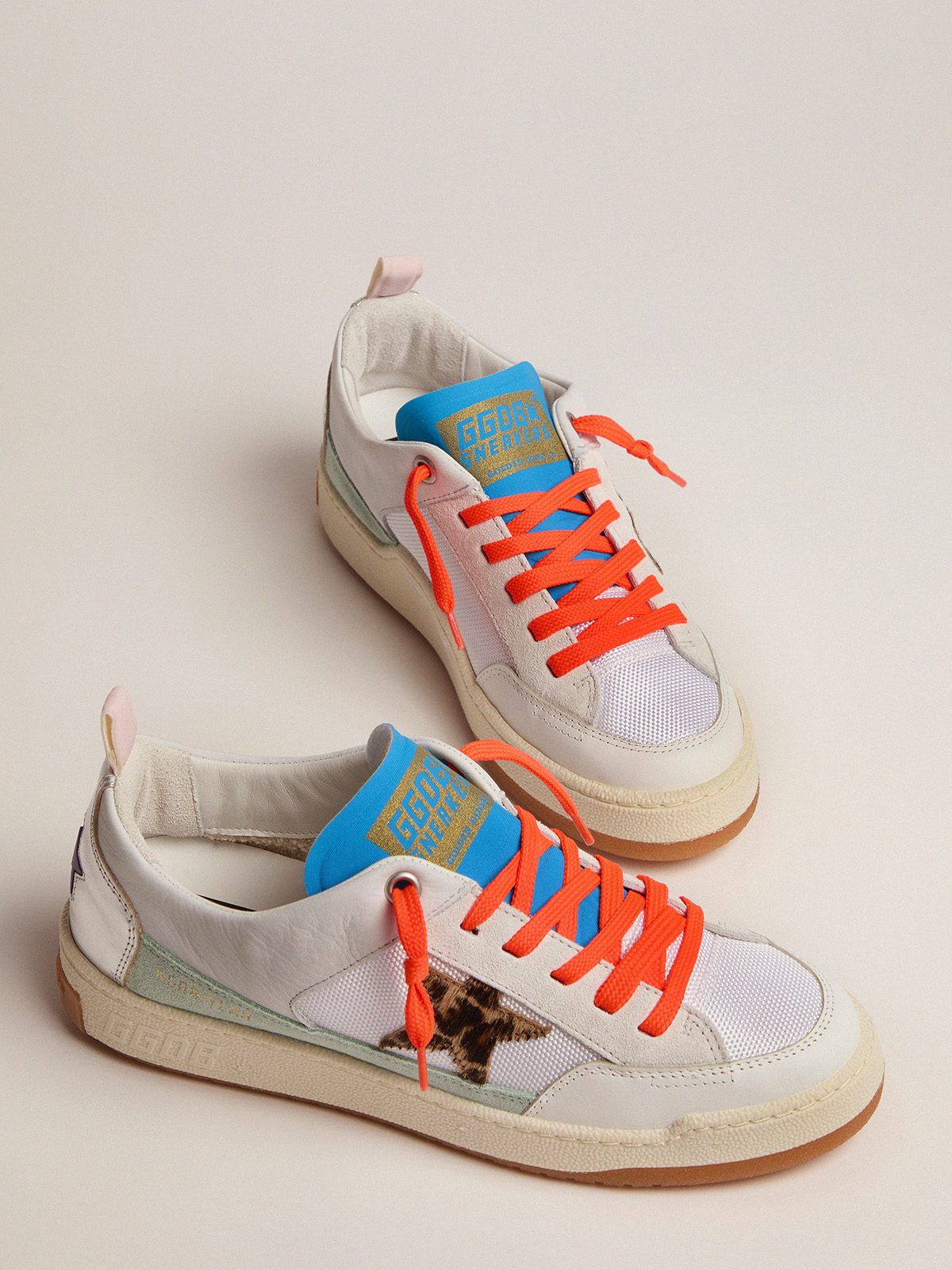 Golden Goose - Women's white and blue Yeah sneakers with leopard-print star in