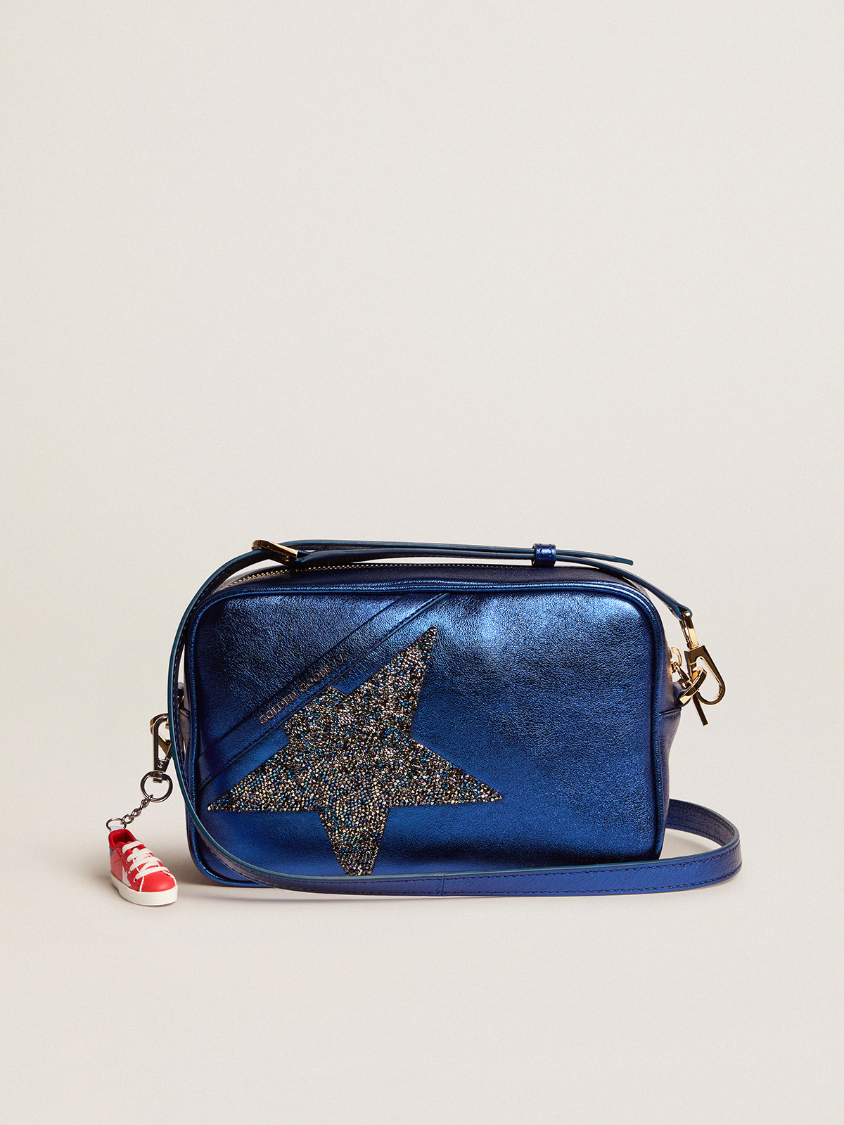 Golden Goose - Star Bag made of blue laminated leather with Swarovski star in
