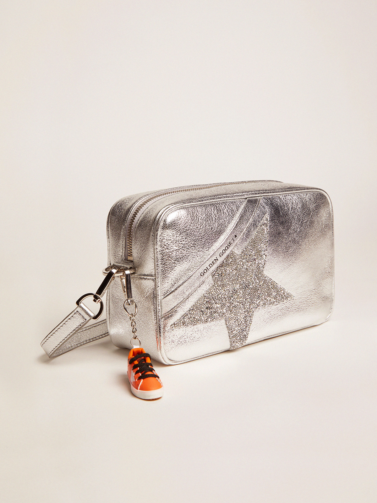 Golden Goose - Silver Star Bag made of laminated leather with Swarovski star in
