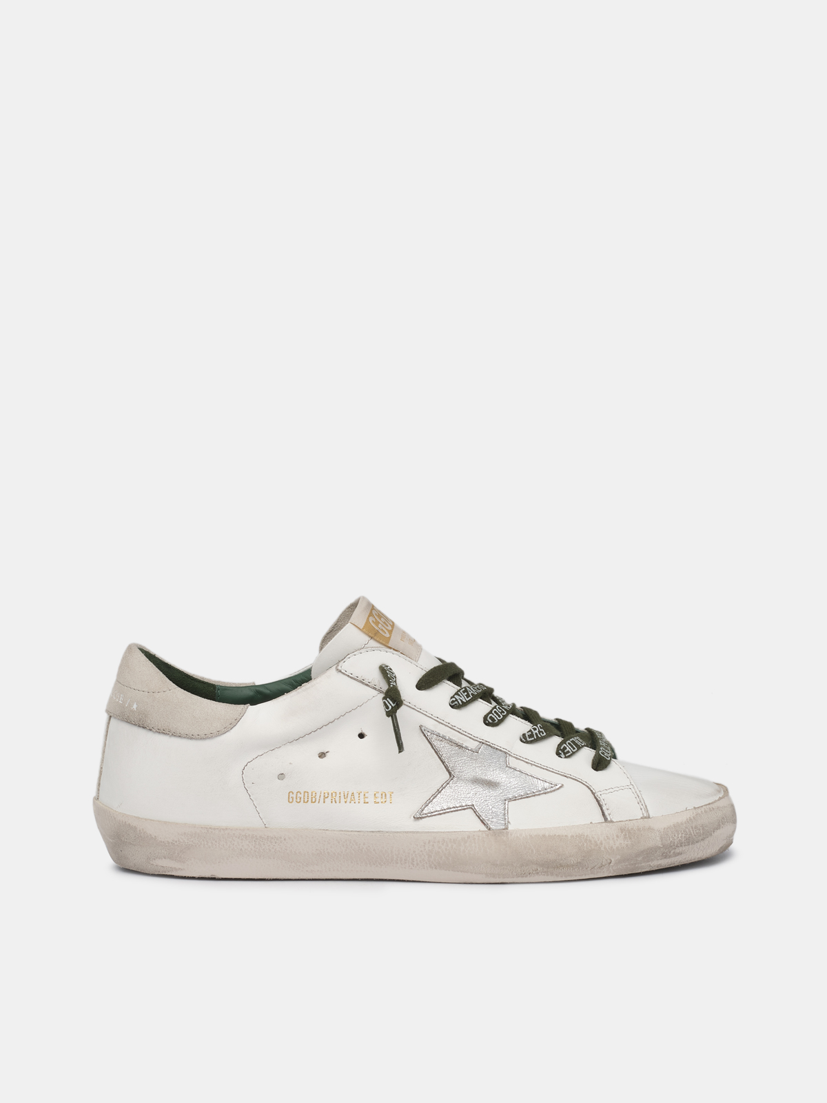 Golden Goose - White Super-Star sneakers with silver star in