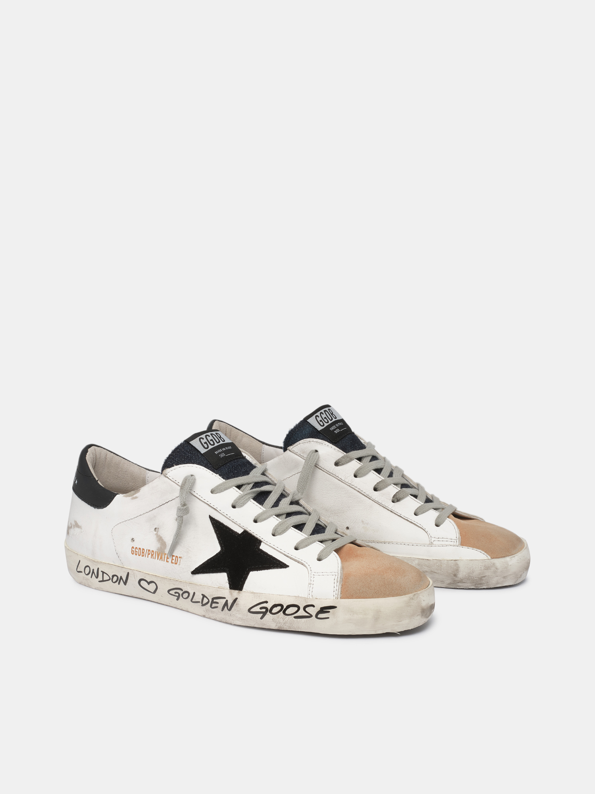 Golden Goose - White and beige Super-Star sneakers with handwritten wording in