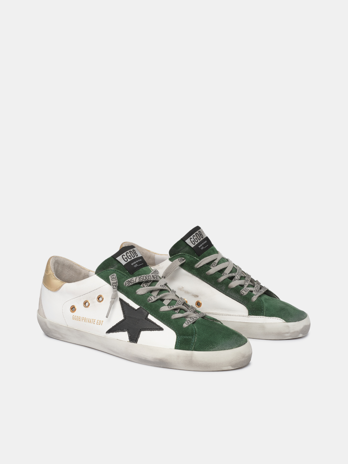 Golden Goose - White and green Super-Star sneakers in