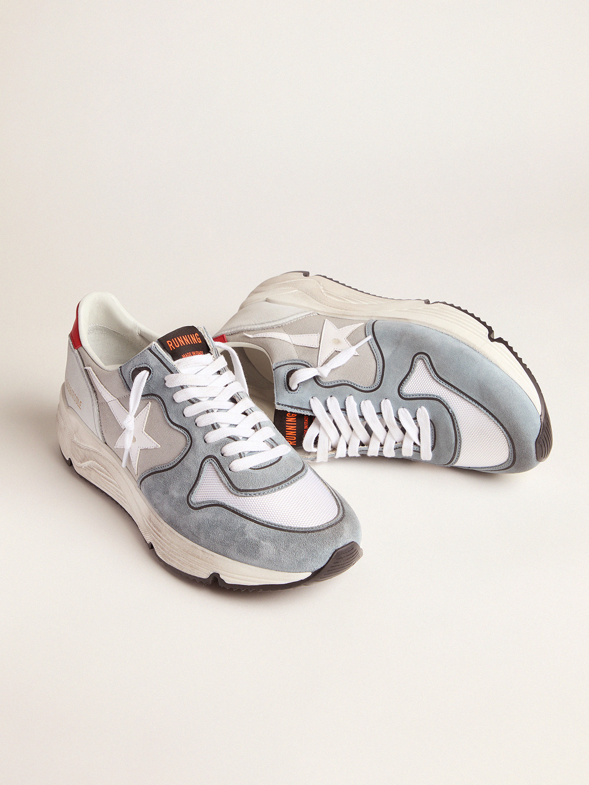 Golden Goose - Grey Running Sole sneakers in suede and canvas in