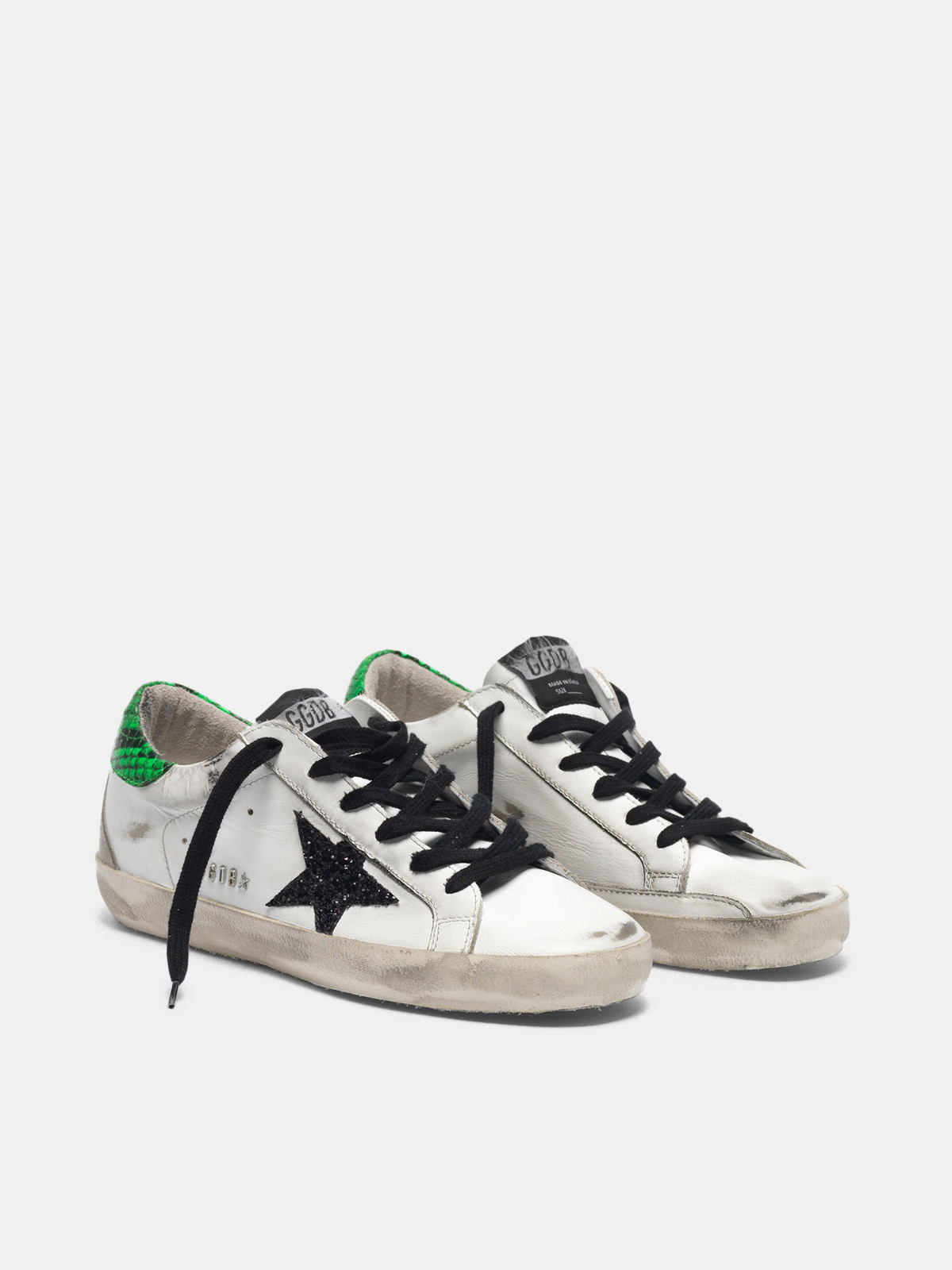 Golden Goose - Super-Star sneakers with glittery black star and snakeskin-print heel tab in