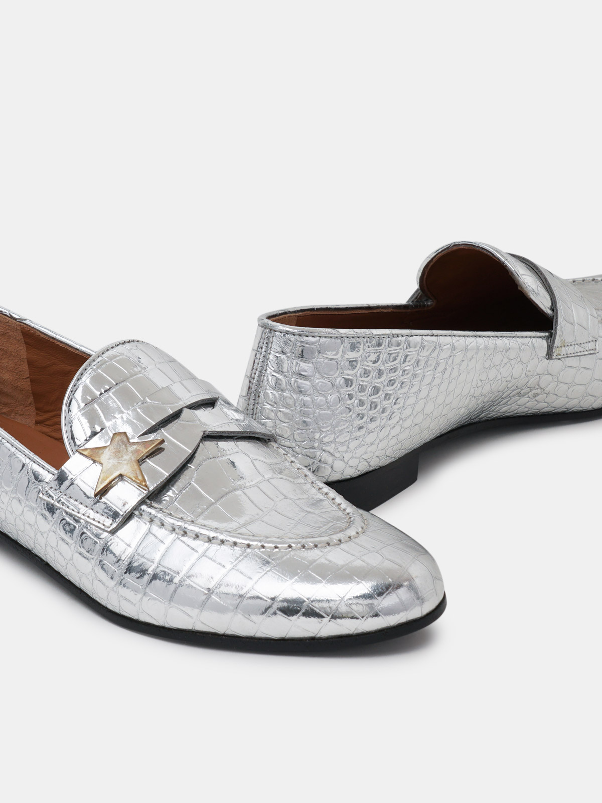 Golden Goose - Virginia loafers in silver leather with crocodile print in