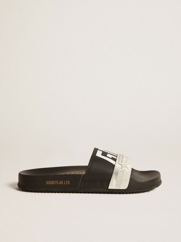 Golden Goose - Black Poolstars for women with two-colour strap and logo in