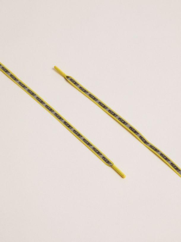 """Golden Goose - Lacci in Gros Grain con banda reflective e stampa """"Laces"""" in"""