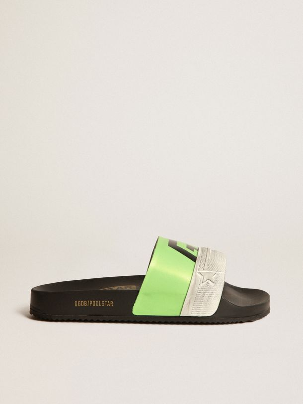 Golden Goose - Black Poolstars for men with green strap and logo in