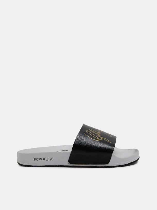Men's Poolstars with black strap and gold logo